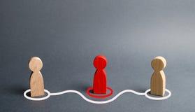 Twee menselijk beeldjescontact rond het rode beeldje Rechtstreekse onderhandelingen zonder tussenpersonen Weigering van de dienst royalty-vrije stock afbeeldingen