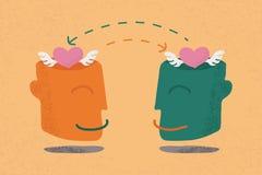 Twee menselijke hoofden met harten Stock Fotografie