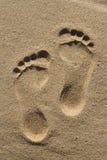 Twee menselijke voetafdrukken Stock Foto