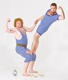 Twee Mensen in de Kostuums van de Zeeman Royalty-vrije Stock Afbeelding