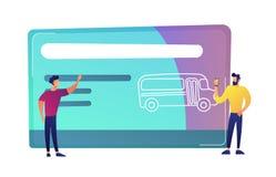 Twee mensen dichtbij reusachtig openbaar vervoer reizen kaart met bus vectorillustratie vector illustratie