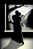 Twee mensen die bij nacht onder de maan dansen Royalty-vrije Stock Afbeelding