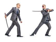 Twee mensen die met het zwaard figthing Stock Afbeeldingen