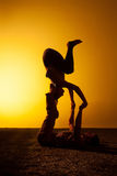 Twee mensen die yoga in het zonsonderganglicht uitoefenen Stock Afbeeldingen