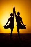 Twee mensen die yoga in het zonsonderganglicht uitoefenen Stock Foto