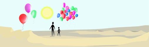 Twee mensen en ballen in de woestijn Royalty-vrije Stock Afbeelding