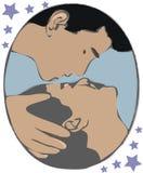 Twee mensen het kussen stock afbeeldingen