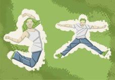 Twee mensen het springen royalty-vrije illustratie