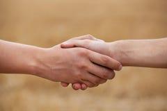 Twee mensen, landbouwers schudden zijn hand Royalty-vrije Stock Fotografie