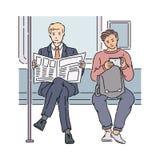 Twee mensen in metrolezing krant en het gebruiken van tablet royalty-vrije illustratie