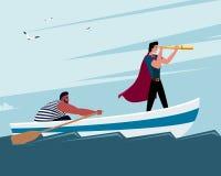 Twee mensen op een boot: men kijkt door een monocle, een andere mens het roeien Royalty-vrije Stock Afbeelding