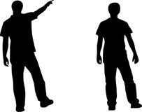 Twee mensen silhouetteren Stock Afbeeldingen