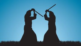 Twee mensen zijn bezig geweest met aikido Stock Foto's