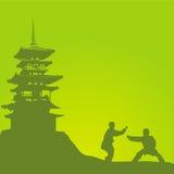 Twee mensen zijn bezig geweest met een kungfu Royalty-vrije Stock Foto's