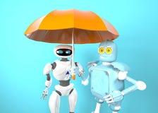 Twee met 3d paraplu, geven terug royalty-vrije illustratie