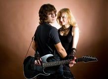 Twee met gitaar Royalty-vrije Stock Foto's