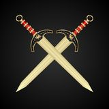 Twee middeleeuwse geïsoleerded zwaarden vector illustratie