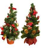 Twee miniKerstbomen stock foto's
