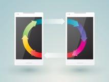 Twee mobiele telefoons Stock Afbeelding