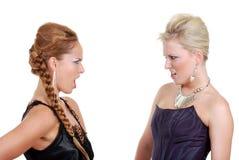 Twee modellen het debatteren Stock Foto's