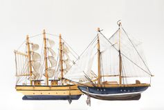 Twee modellen van de zeilboot royalty-vrije stock foto's