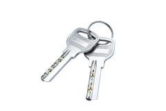 Twee moderne geïsoleerde sleutels Stock Foto