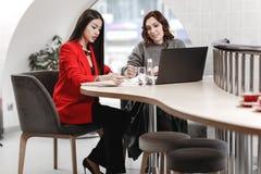 Twee modieuze meisjes binnenlandse ontwerpers die in het bureau bij het ontwerpproject werken stock foto