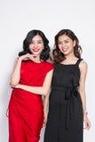 Twee modieuze vrouwen in aardige kleding zich en havi die verenigen Royalty-vrije Stock Foto's