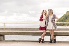 Twee modieuze vrouwen openlucht stock foto's