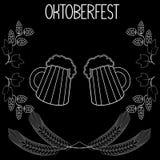 Twee mokken bier, gerst, hop, Oktoberfest 2 stock illustratie