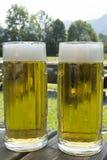 Twee Mokken Gekoeld Bier stock afbeeldingen