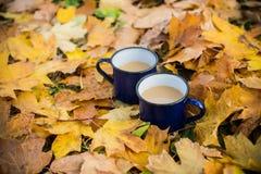 Twee mokken hete koffie stock foto's