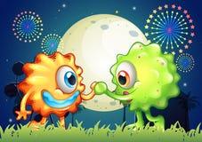 Twee monstervrienden in Carnaval Royalty-vrije Stock Afbeeldingen