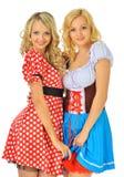Twee mooie blonde vrouwen in Carnaval kostuums stock afbeeldingen