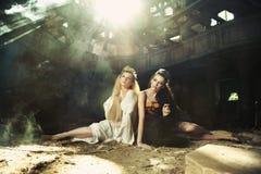 twee mooie dames Royalty-vrije Stock Afbeeldingen