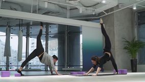 Twee mooie die vrouwen verzakken gelijktijdig ruggen neer in de snuit van de positiehond en heffen hoog benen op de yoga op in st stock footage