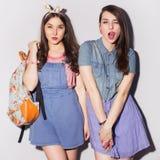 Twee mooie donkerbruine vrouwen (meisjes) tieners brengen tijd door togeth Royalty-vrije Stock Foto's