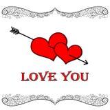 Twee mooie harten Stock Afbeelding