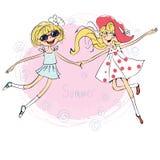 Twee mooie houdende van meisjes die voor vreugde springen vector illustratie
