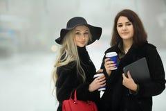 Twee mooie jonge meisjes in warme kleren Royalty-vrije Stock Foto