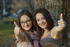 Twee mooie jonge vrouwen die duimen geven ondertekenen omhoog Stock Foto