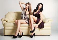 Twee mooie luxueuze vrouwen Stock Afbeelding