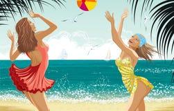 Twee mooie meisjes bij een strand stock fotografie