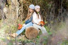 Twee Mooie meisjes die een baretzitting bij logboek het stellen dragen Stock Fotografie