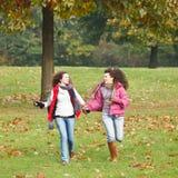 Twee mooie meisjes in het park Stock Foto