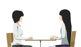 Twee mooie meisjes in koffie Stock Afbeeldingen