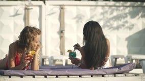 Twee mooie meisjes met coctails in mooie swimwear hebben vrolijk gesprek op het zitkamer dichtbij zwembad stock footage