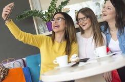 Twee mooie meisjes met glazen maken selfie royalty-vrije stock fotografie