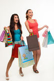Twee mooie meisjes met het winkelen zakken Stock Foto