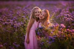 Twee mooie meisjes met lang haar op een bloeiend gebied royalty-vrije stock fotografie
